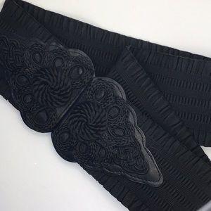 WCM New York Black Corded Stretch Belt